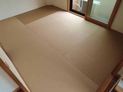 縁付き畳 から 縁無しカラー畳(小麦色)へ表替え